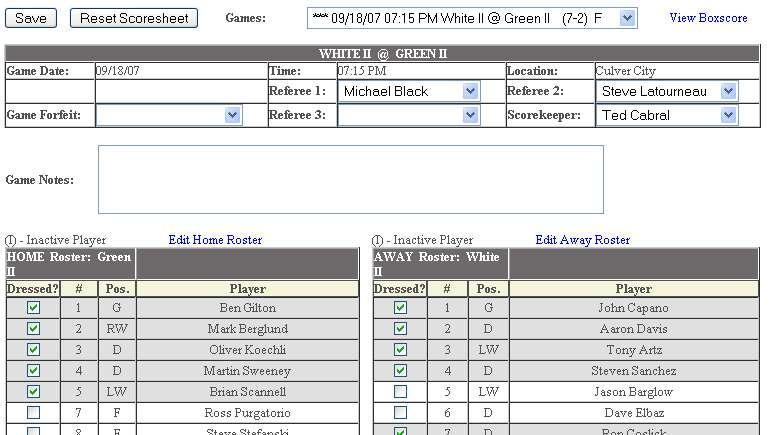 Hockey Score Sheet You Can Go Back And Edit Players At Anytime This